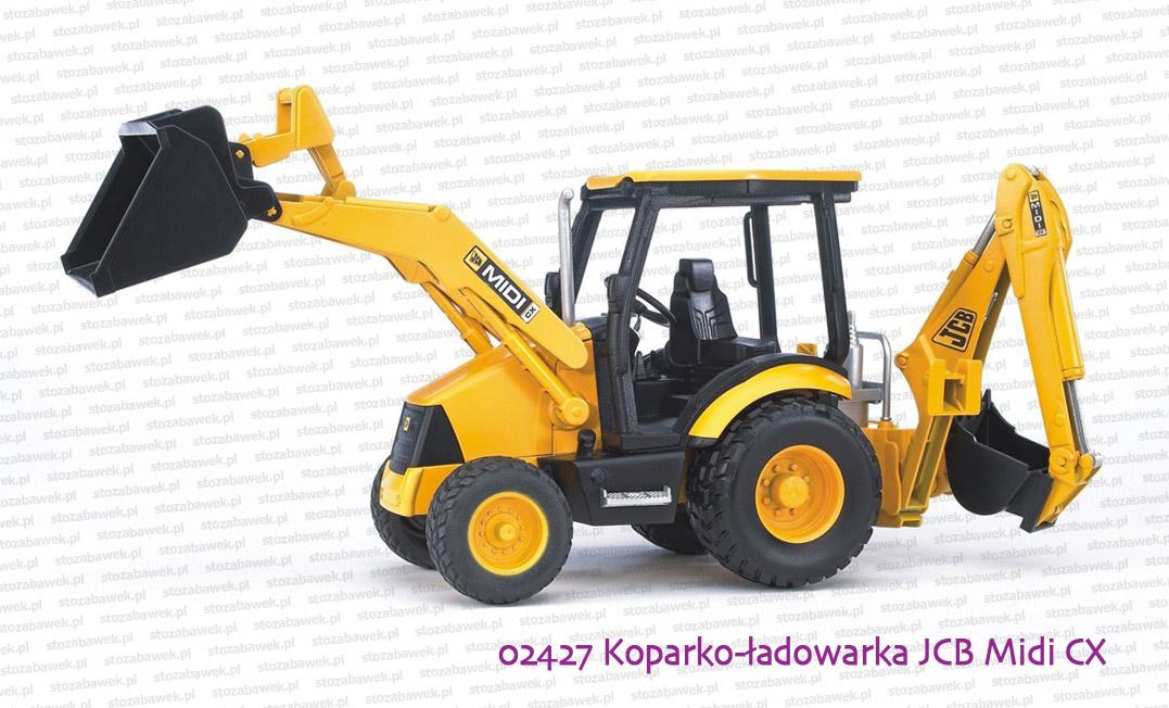 Bardzo dobra 02427 BRUDER Koparko-ładowarka kołowa JCB Midi CX - zabawki Bruder AP44